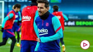 Leo Messi durante un entrenamiento antes de la final de la Supercopa de España. (fcbarcelona)