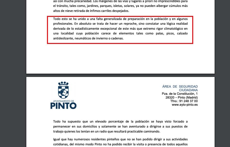 Escrito del Ayuntamiento de Pinto.