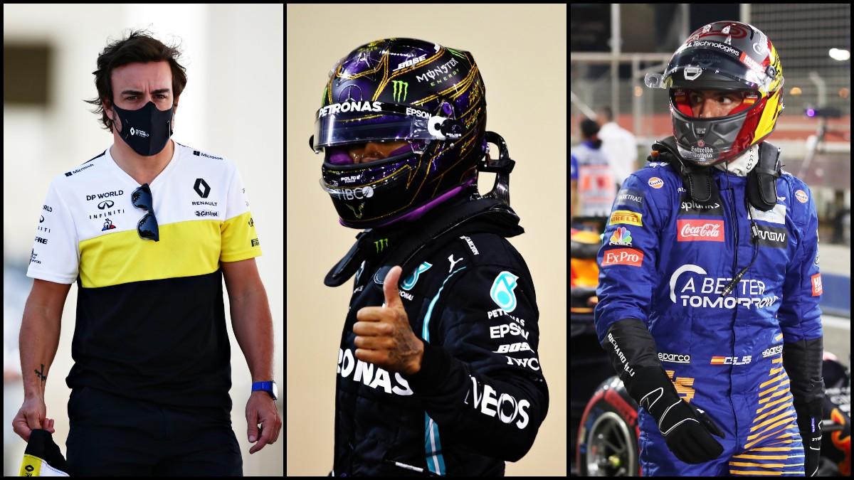 Fernando Alonso, Lewis Hamilton y Carlos Sainz.