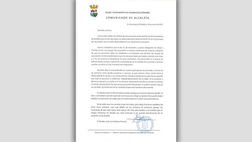 La carta del alcalde de Alcaracejos (Córdoba), José Luis Cabrera (PSOE).
