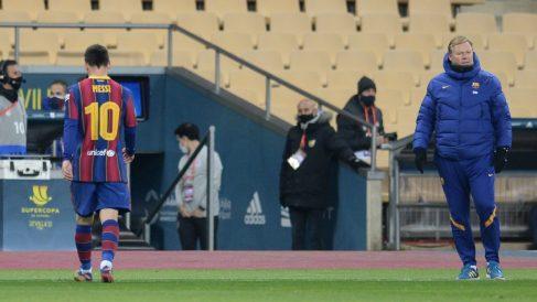 Messi, tras ser expulsado ante el Athletic Club. (AFP)