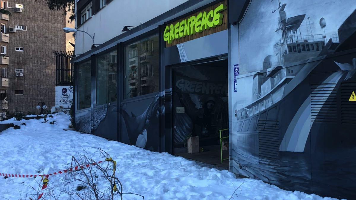 Entrada a la sede de Greenpeace en Madrid.