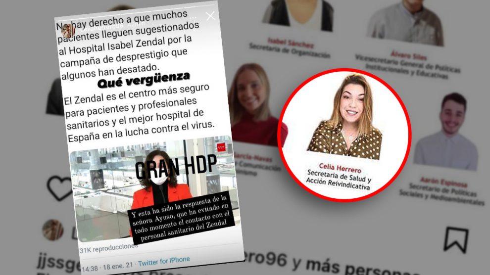 Celia Herrero insultado a Isabel Díaz Ayuso en Instagram.