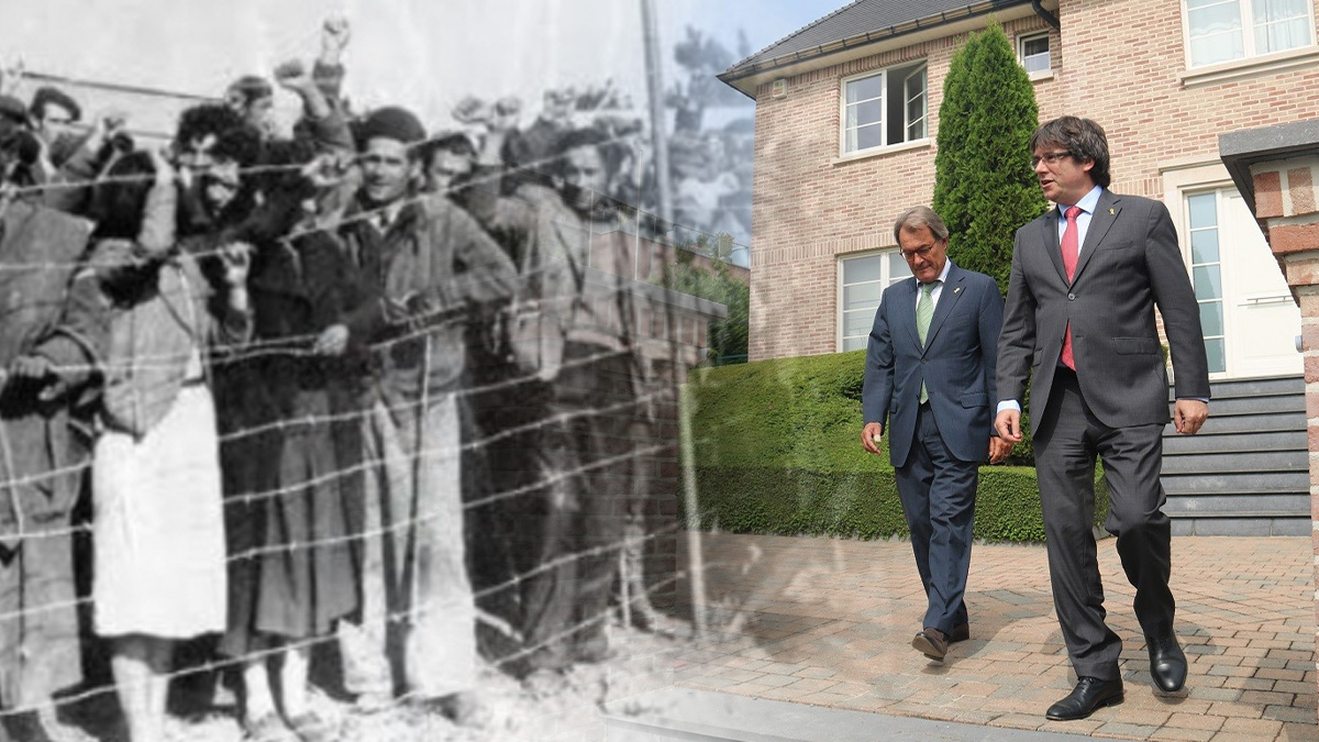 Los dos 'exilios' que compara Iglesias: el de los republicanos españoles y el del separatista Puigdemont.
