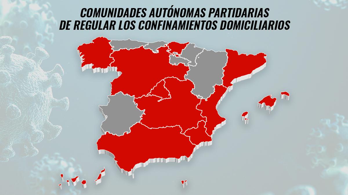 Comunidades autónomas partidarias de regular los confinamientos domiciliarios