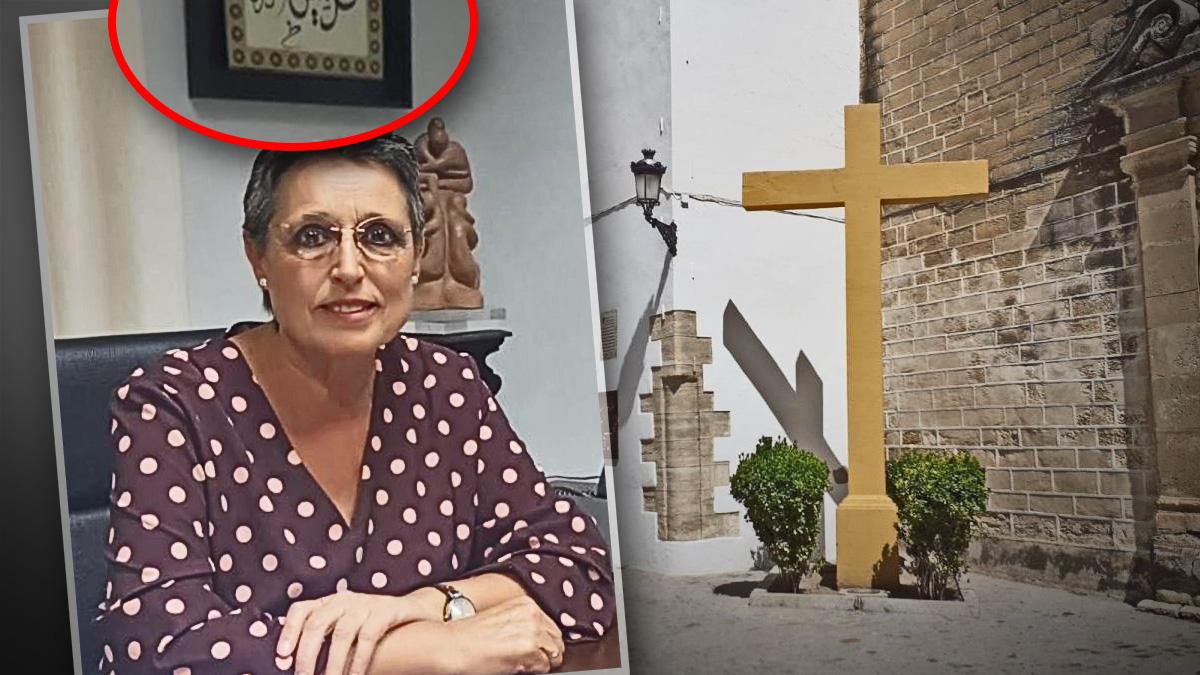 La alcaldesa de Aguilar, Carmen Flores, de IU y la Cruz que ha derribado y demolido.
