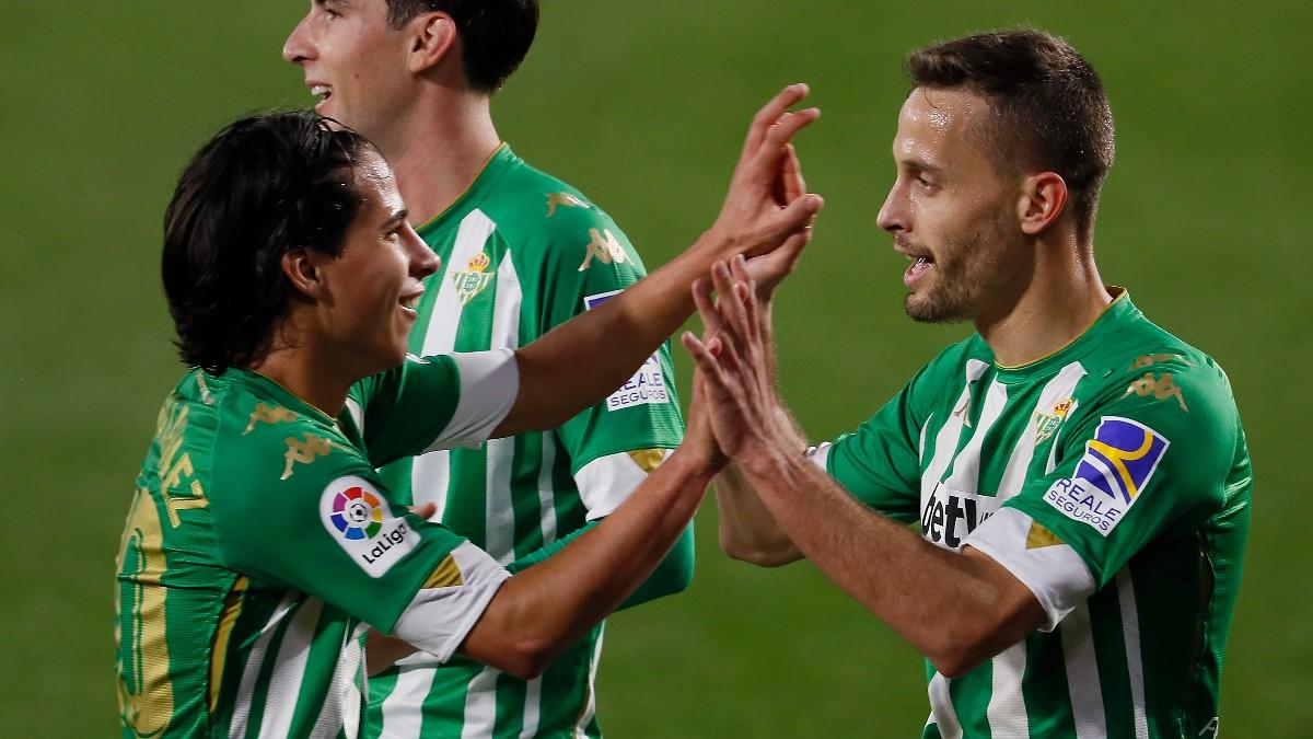Canales celebra un gol al Celta. (EFE)