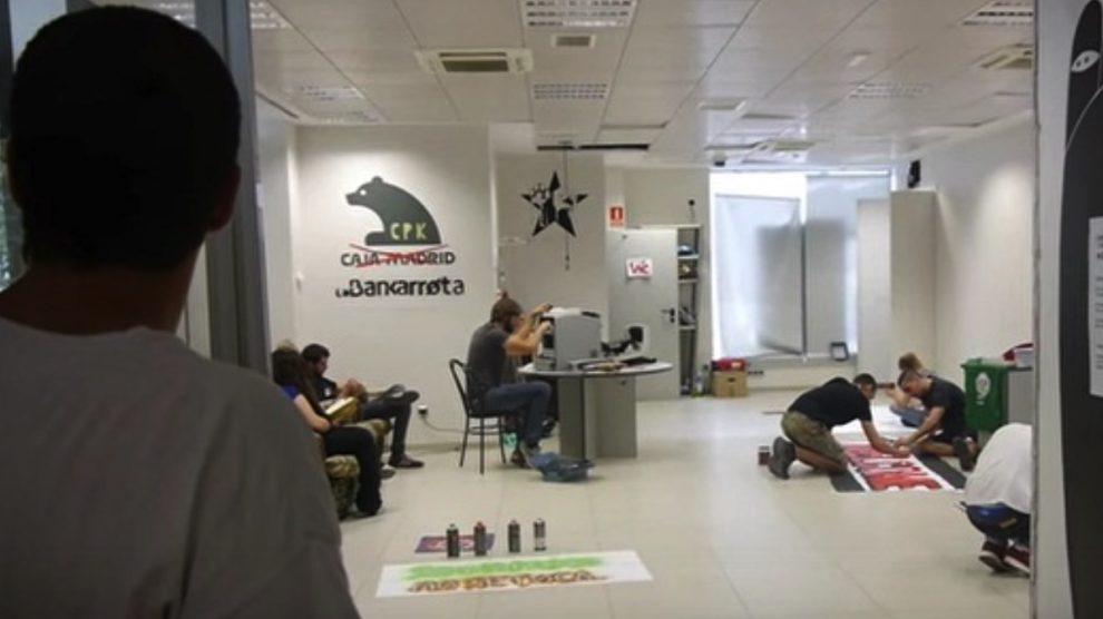 Interior de la okupación La Bankarrota en Moratalaz.
