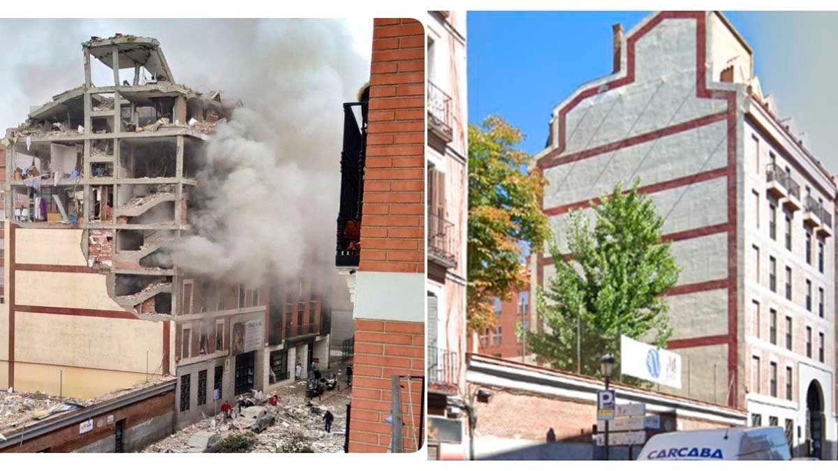 Así ha quedado el edificio de la calle Toledo tras la explosión registrada en Madrid.
