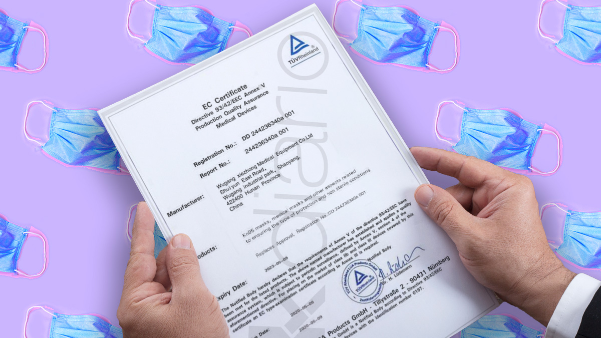 Uno de los certificados falsificados que se encontró Sanidad en mascarillas importadas de China.