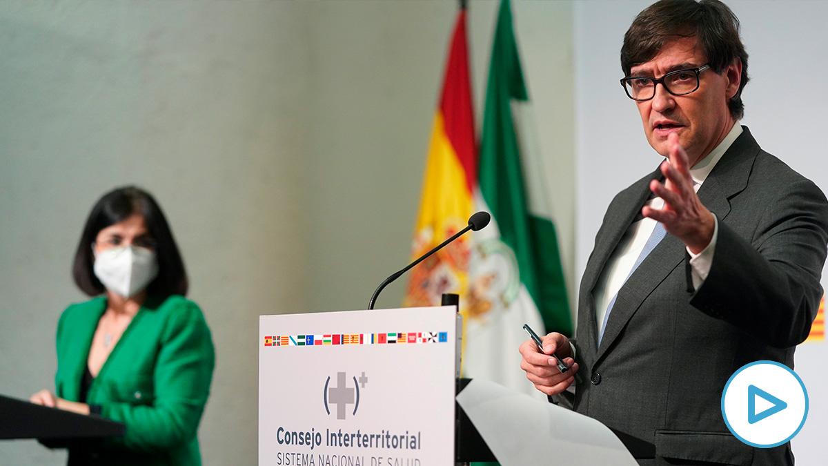 Salvador Illa, este miércoles, tras el Consejo Interterritorial de Sanidad en Sevilla.