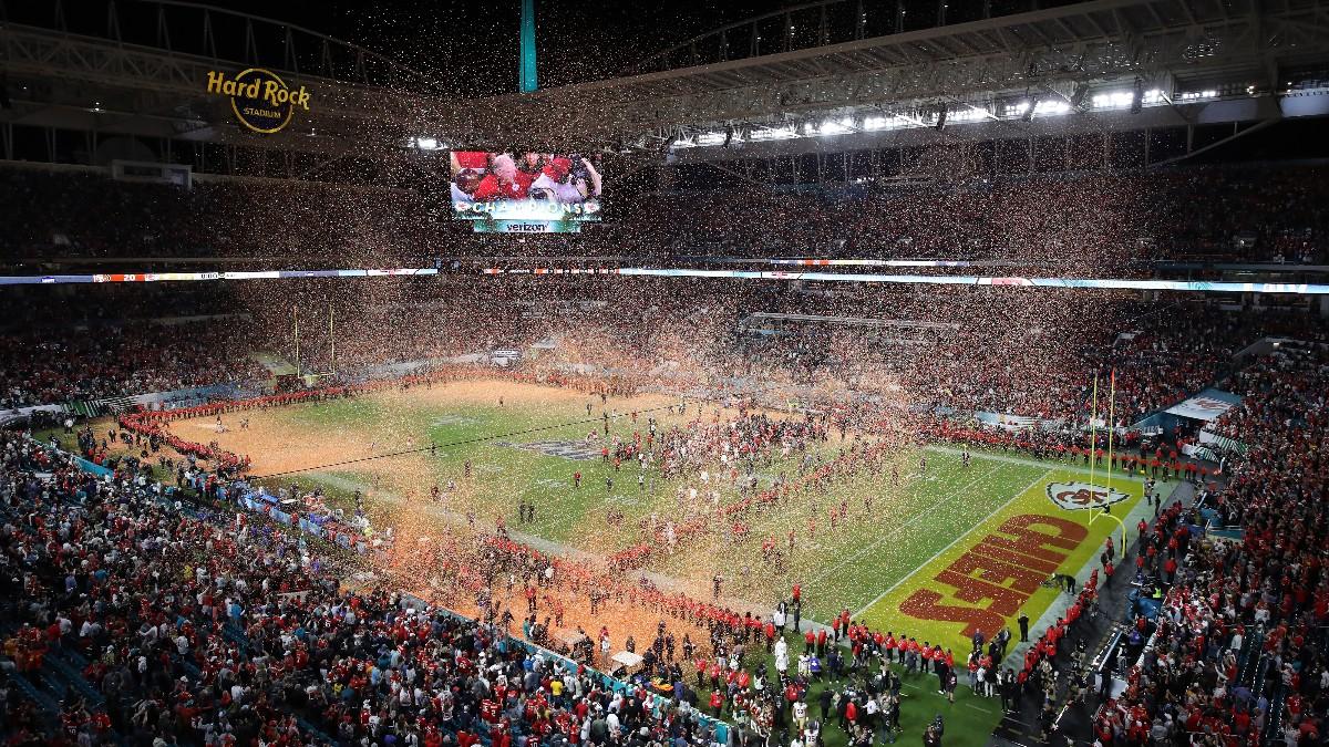 Kansas City Chiefs celebra la Super Bowl en el Hard Rock de Miami. (Getty)