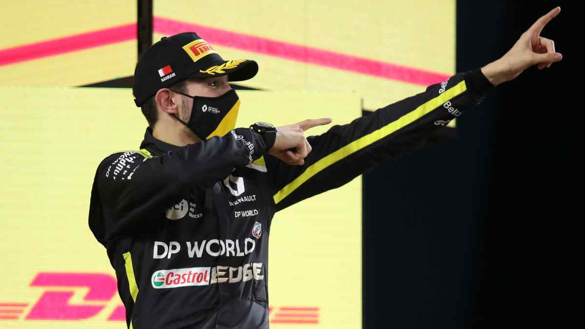 Esteban Ocon, segundo en el Gran Premio de Sakhir. (AFP)