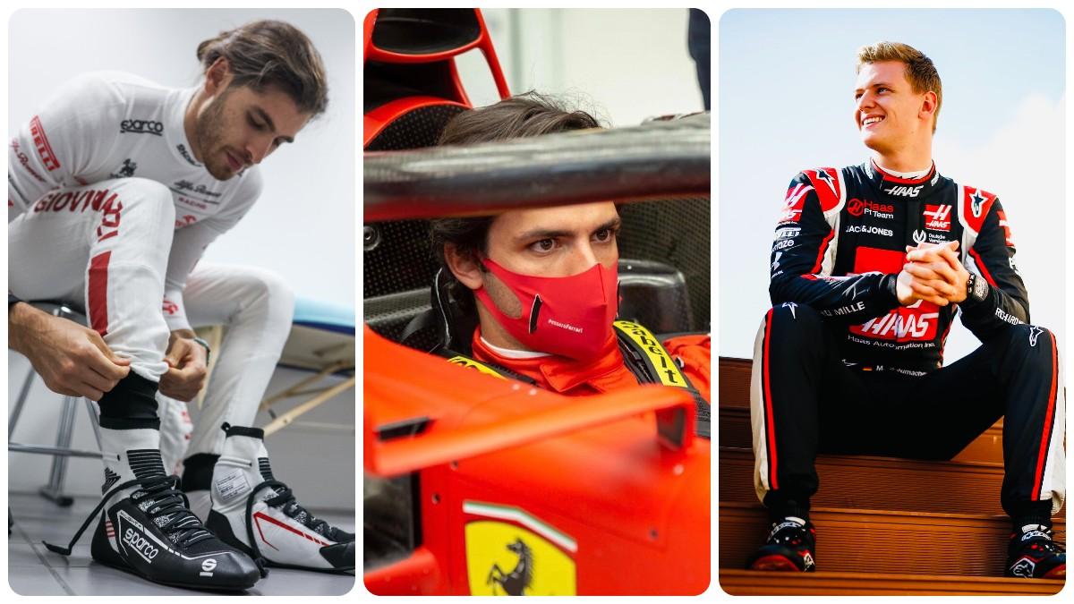 Antonio Giovinazzi, Carlos Sainz y Mick Schumacher.
