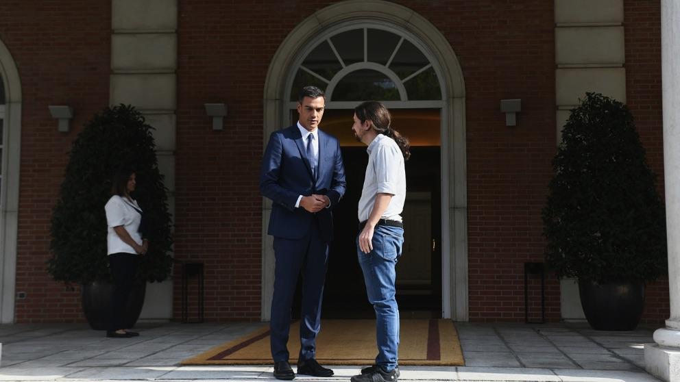 Pedro Sánchez y Pablo Iglesias en Moncloa. (Foto. Podemos)