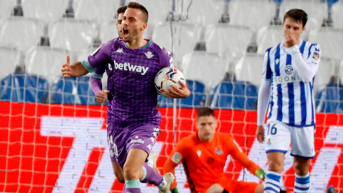 Canales celebra un gol ante la Real Sociedad. (EFE)