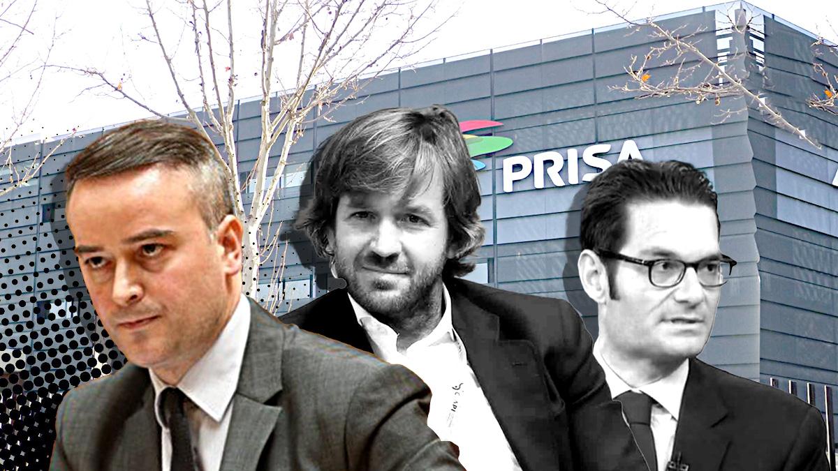 Iván Redondo (jefe de gabinete de Pedro Sánchez), el empresario Rosauro Varo y el máximo accionista de Prisa, Joseph Oughourlian.