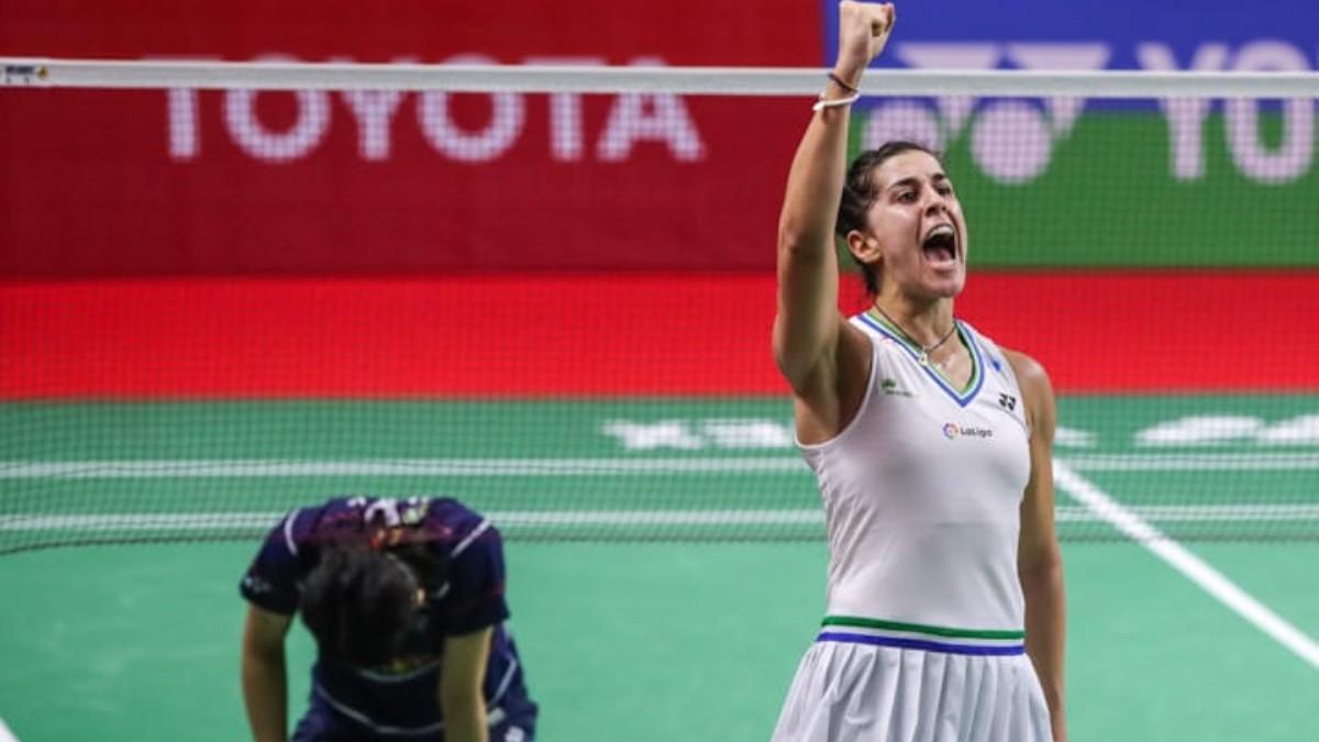 Carolina Marín celebra la victoria en las semifinales del Super 1000. (@carolinamarin)
