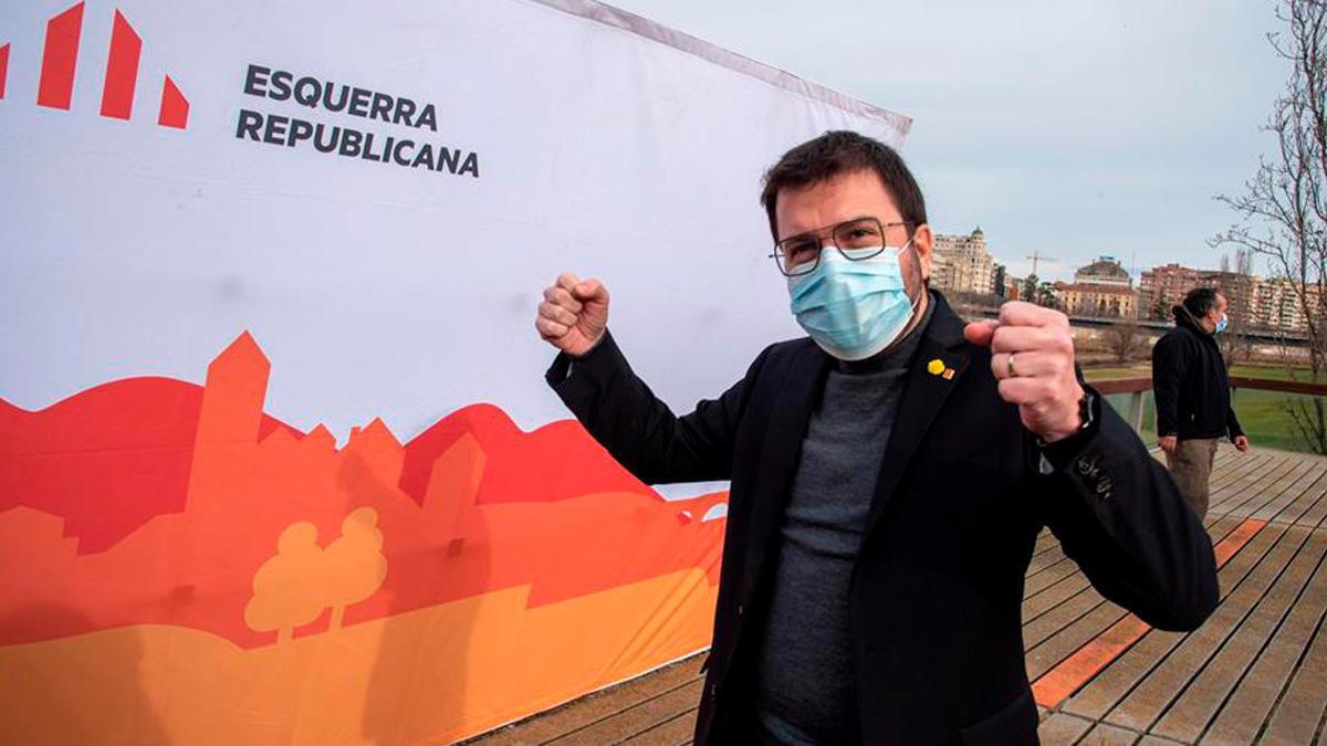 El vicepresidente del Govern, Pere Aragonés durante un acto preelectoral en Lérida. Foto: EFE