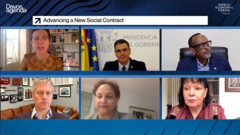 Pedro Sánchez en el foro online de Davos