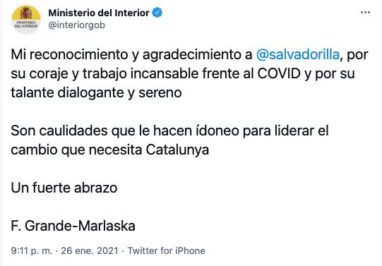 Marlaska utiliza la cuenta del Ministerio para hacer campaña por Illa con un tuit lleno de erratas