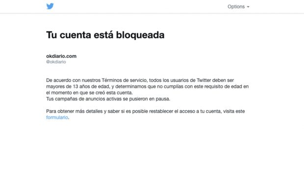 Twitter bloquea la cuenta de OKDIARIO alegando que Inda era «menor de 13 años» cuando la creó en 2015