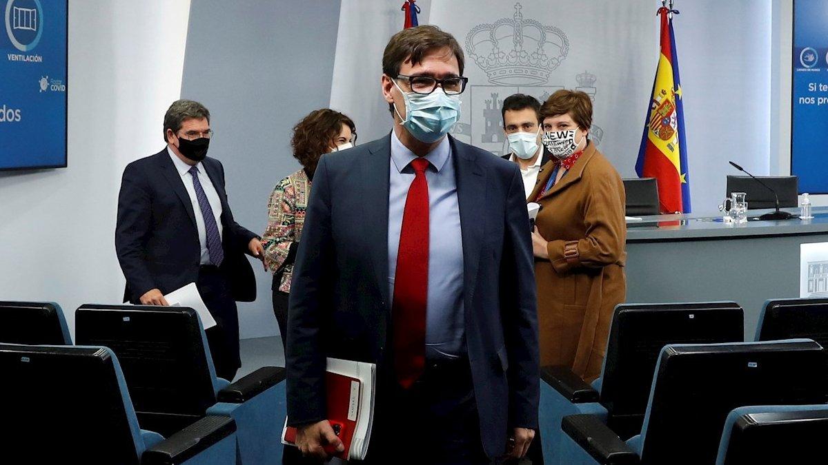 Salvador Illa tras su última rueda de prensa como ministro de Sanidad.