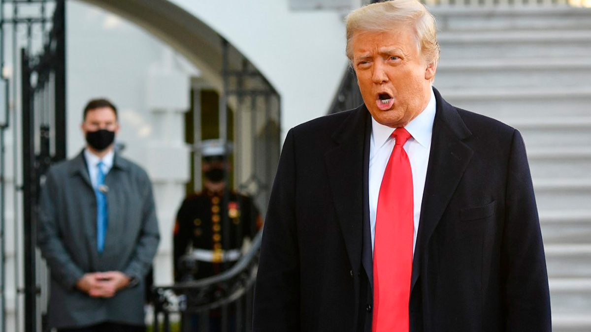 El ex presidente de los EEUU, Donald Trump, el día de su salida de la Casa Blanca. Foto: AFP
