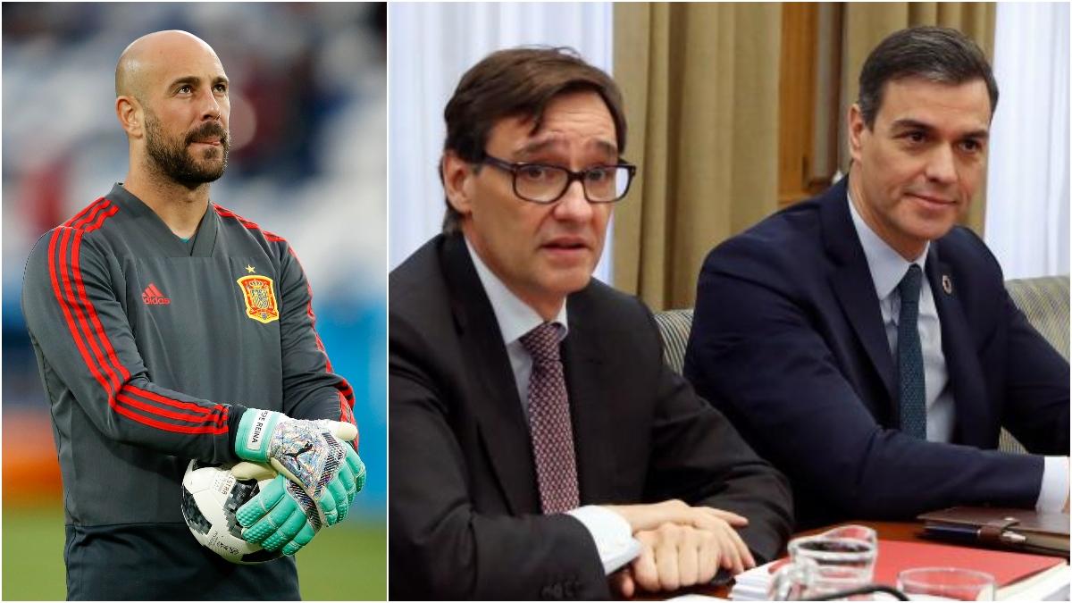 Pepe Reina, Salvador Illa y Pedro Sánchez.