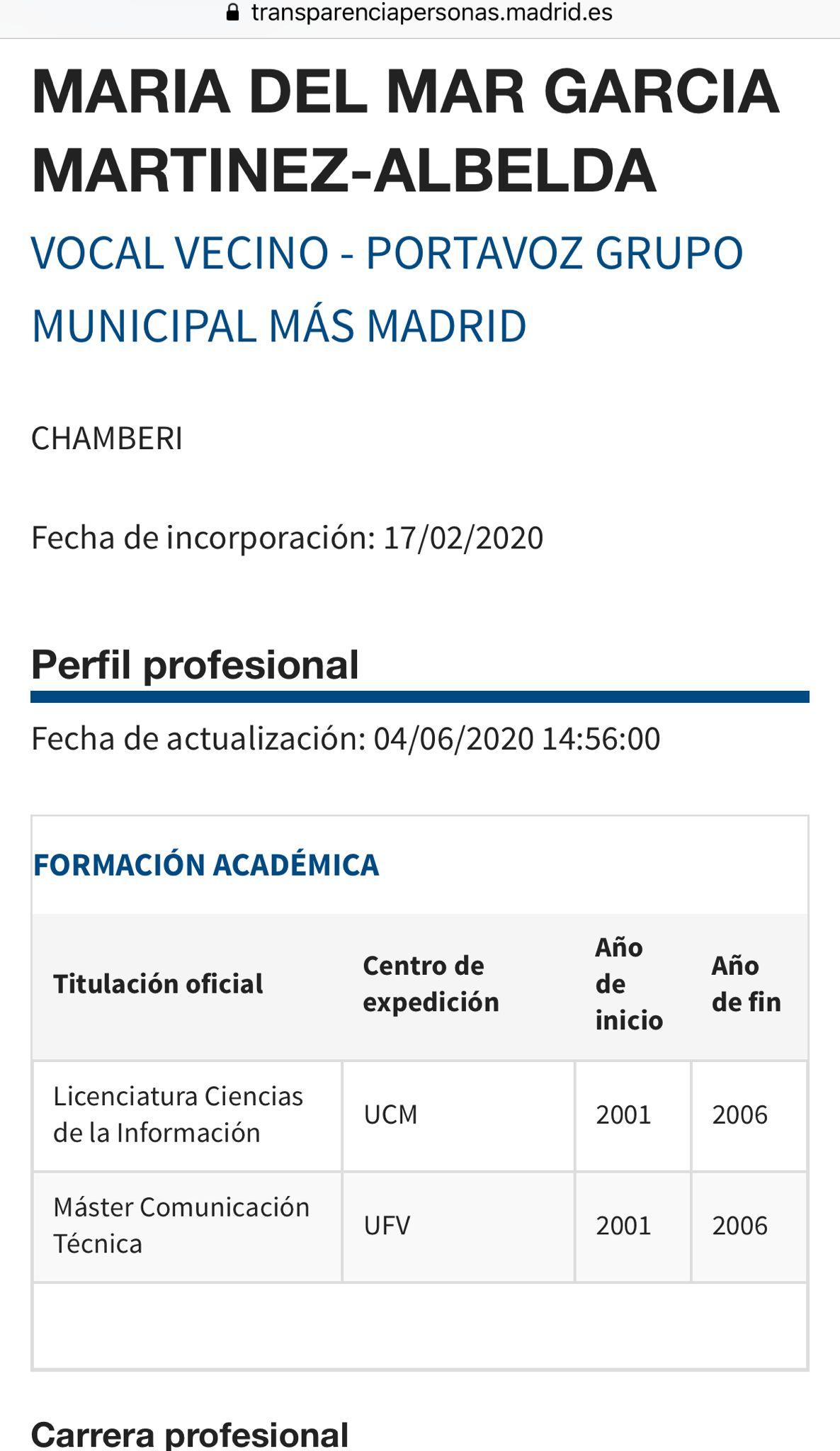 Perfil de Mar García en el Ayuntamiento de Madrid.