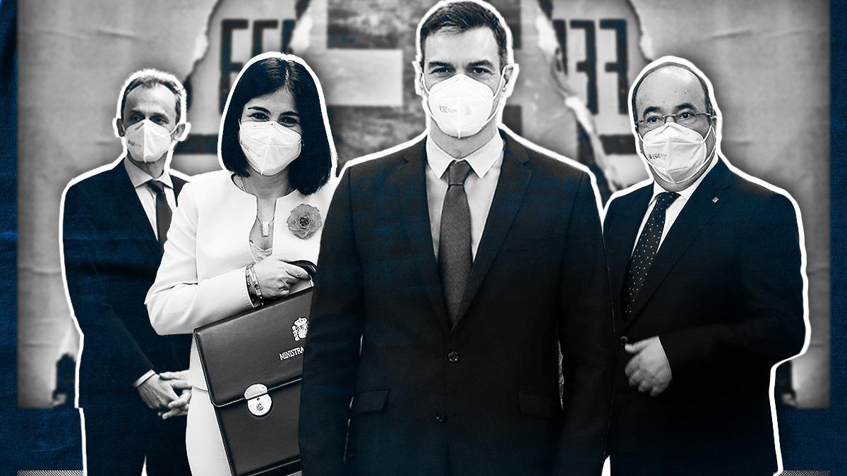 Pedro Sánchez y varios ministros, con mascarillas FFP2.