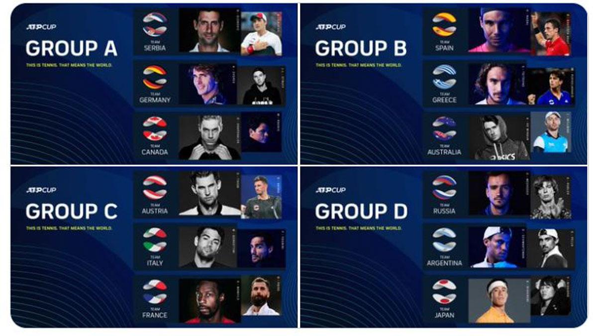Los tenistas que jugarán la ATP Cup 2021
