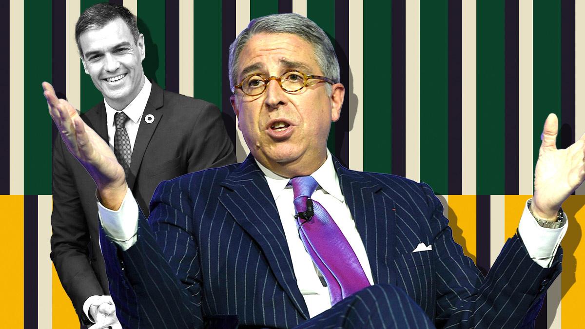 Arnaud de Puyfontaine, CEO de Vivendi, y el presidente Pedro Sánchez