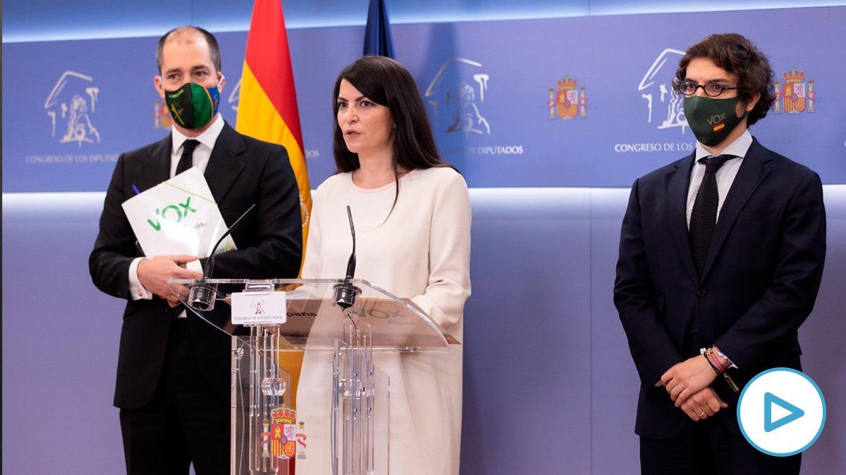 La portavoz adjunta de Vox, Macarena Olona, junto a los diputados Víctor González y José María Figaredo.