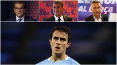Los tres candidatos a la presidencia del Barcelona, Freixa, Laporta, Font, en discordia por el fichaje de Eric García.
