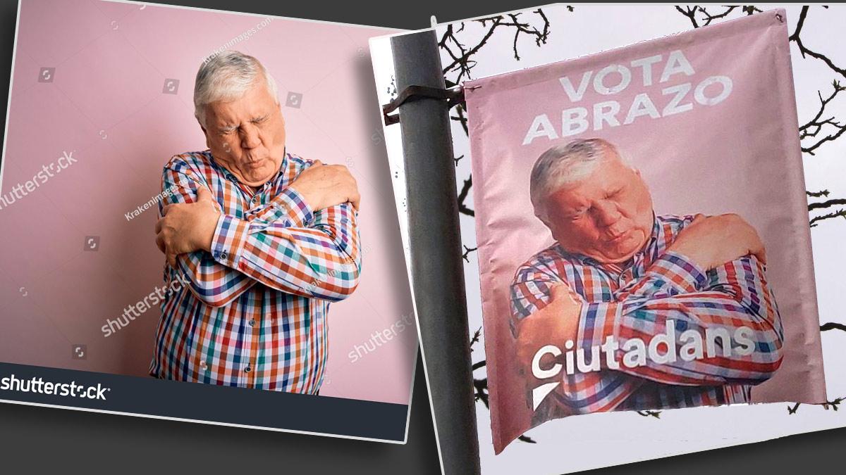 La foto del banco de imágenes y el cartel electoral de Ciudadanos.