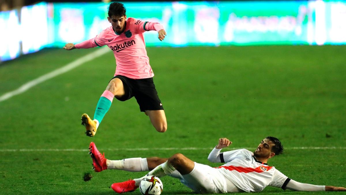 Trincao durante el partido ante el Rayo Vallecano en Copa del Rey. (EFE)