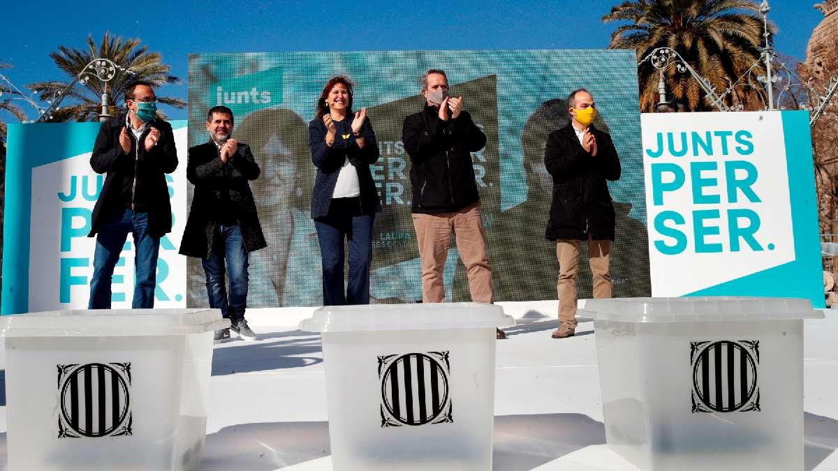 Laura Borrás durante un acto de campaña para las elecciones del 14F