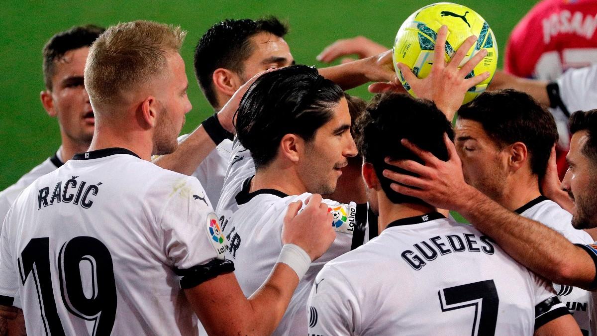 El Valencia celebra un gol. (EFE)