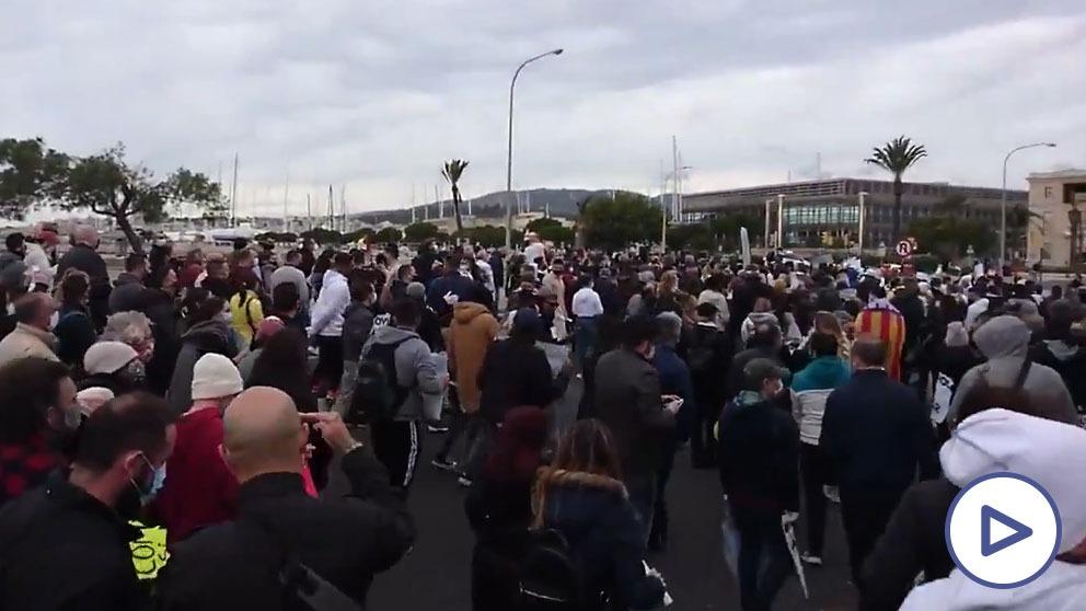 Manifestación de hosteleros en Palma.