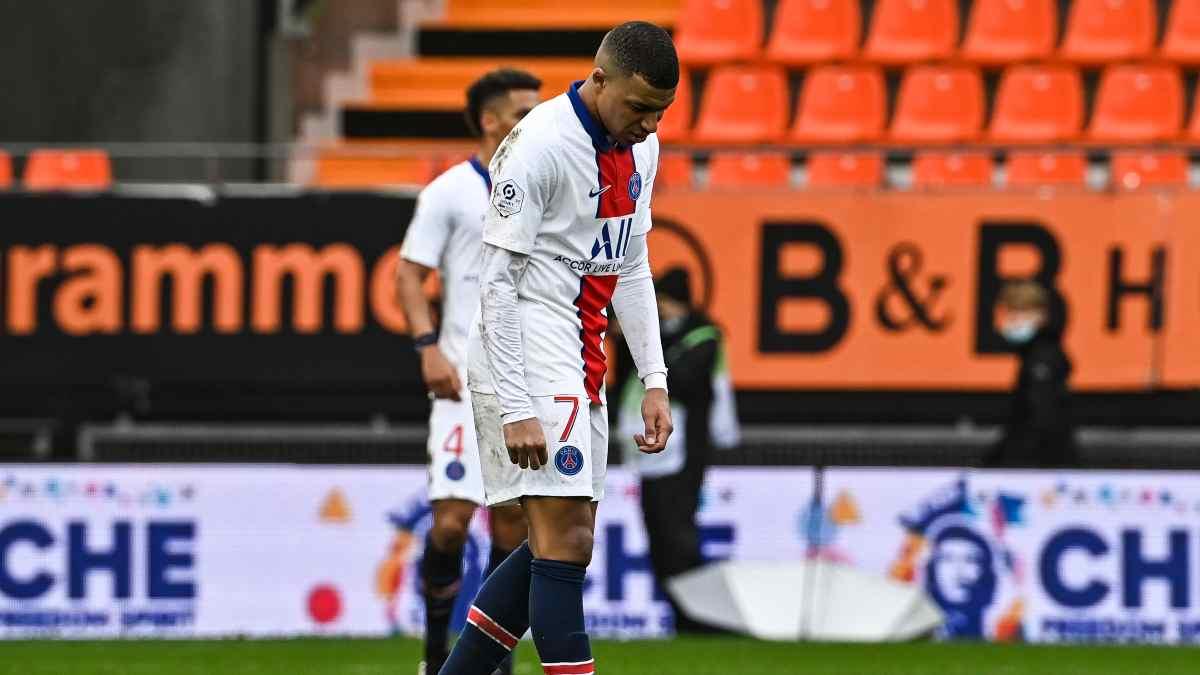Kylian Mbappe tras la derrota del PSG. (AFP)