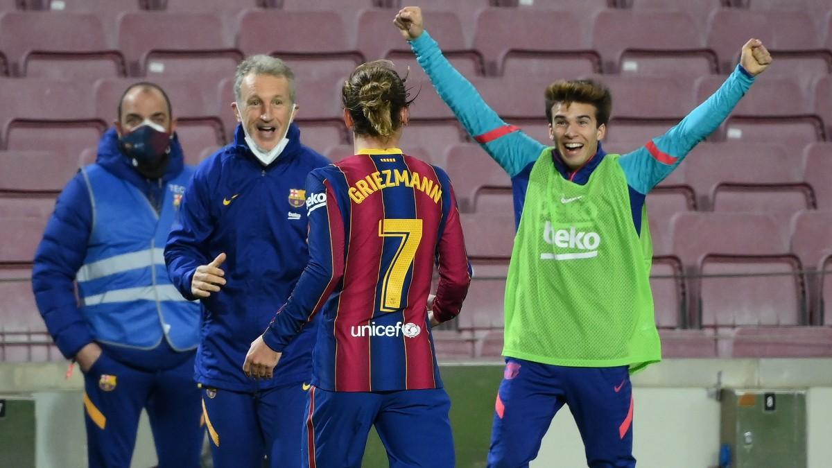 Griezmann celebra su gol ante el Athletic. (AFP)