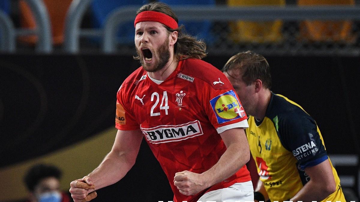 Mikkel Hansen celebra un gol en la final del Mundial de balonmano entre Dinamarca y Suecia. (AFP)
