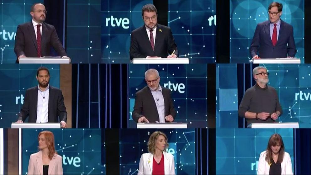 Los candidatos a la Generalitat en el debate organizado este domingo por TVE y moderado por Xavier Fortes.