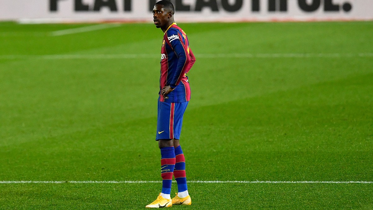 Dembélé, durante un partido con el Barcelona. (AFP)