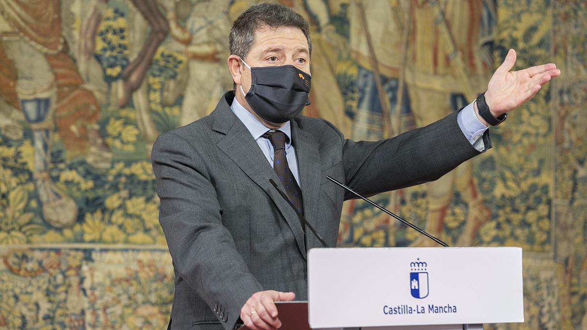 El presidente de Castilla-La Mancha, Emiliano García Page, en el acto de homenaje a los efectivos que combatieron los efectos de Filomena.