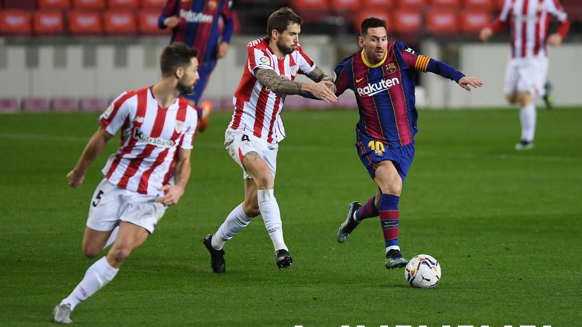 Leo Messi durante el partido entre Barcelona – Athletic. (Getty)