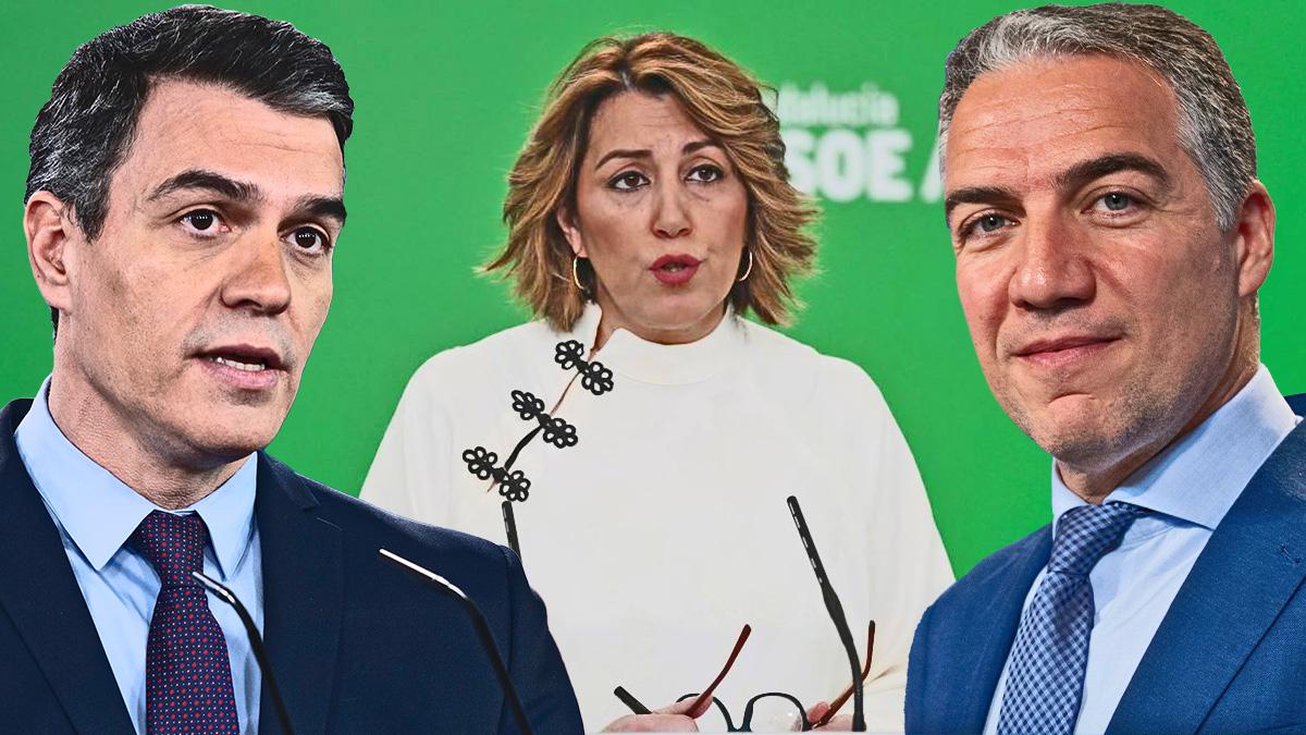 Pedro Sánchez, Susana Díaz y Elías Bendodo.