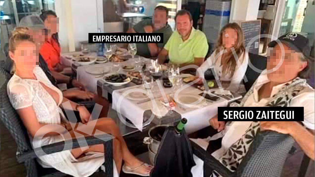 Sergio Zaitegui, el empresario italiano y otros invitados comiendo con Óscar Puente en Formentera
