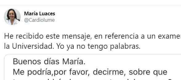 El tuit de la cardióloga María Luaces